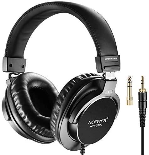Neewer NW-3000 Auriculares Cerrados de Estudio, Auriculares Dinámicos de 10Hz – 26Khz Ligero con 3 Metros de Cable, Enchufes 3,5mm y 6,5mm para Música,Películas,Grabación