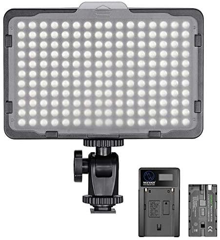 Neewer Regulable 176 LED Luz de Video 5600K en Panel de Luz de Cámara con 2200mAh Batería y Cargador USB para Canon, Nikon, Pentax, Panasonic, Sony y Otras Cámaras Digitales SLR para Fotografía