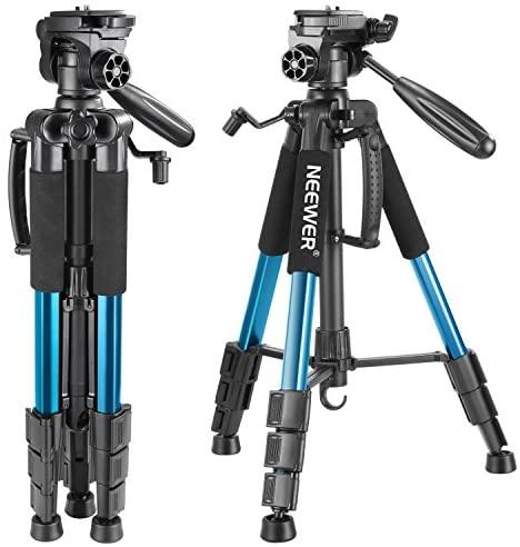 Neewer Trípode portátil de Aluminio para cámara de 142 cm, con Cabezal Giratorio de 3 vías, Funda para cámara réflex Digital, videocámara DV, Carga hasta 4 kg (Azul)
