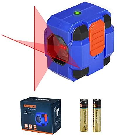 Nivel Láser 15M, SORAKO Nivel Láser Autonivelante, Nivelador Láser Cruzado, 2 Pilas, IP54 para Decoración Interior, 1M a Prueba de Golpes