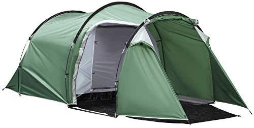 Outsunny Tienda de Campaña Familiar 3-4 Personas Plegable Impermeable 2000+ mm a Prueba de UV 20+ con Vestíbulo para Camping Senderismo Festivales 426x206x154 cm Verde
