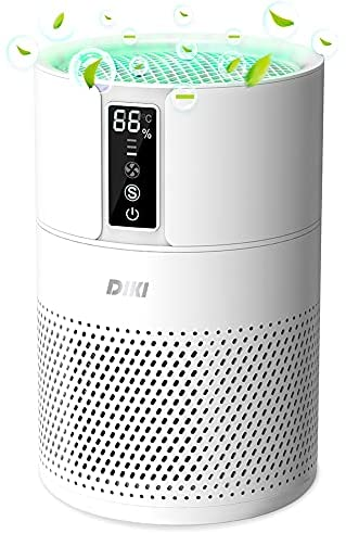 Purificador de aire Anion, DIKI filtro de aire HEPA inteligente con indicador de temperatura y humedad, ultra silenciosos, filtro de carbón activo, elimina 99.97% de humo alérgenos polvo