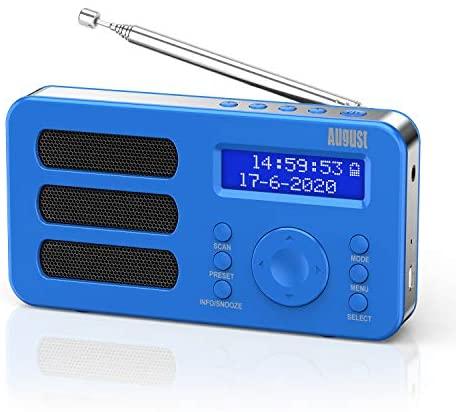 Radio Portátil Digital Dab/Dab+/FM – August MB225 Dual Alarma Radiodespertadores con Pantalla LCD, RDS, Función Snooze y Sleep Timer, Estéreo/Mono FM Radio Pequeña, Batería Recargable