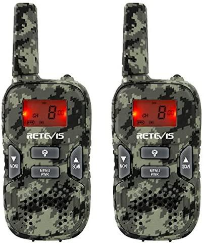 Retevis RT33 Walkie Talkie Juguetes Recargables para Niños de 6 a 12 Años, Linterna LED VOX 8 Canales, Regalos para Juegos del Ejército, Explorar Aventuras al Aire Libre (Camuflaje, 2 Piezas)
