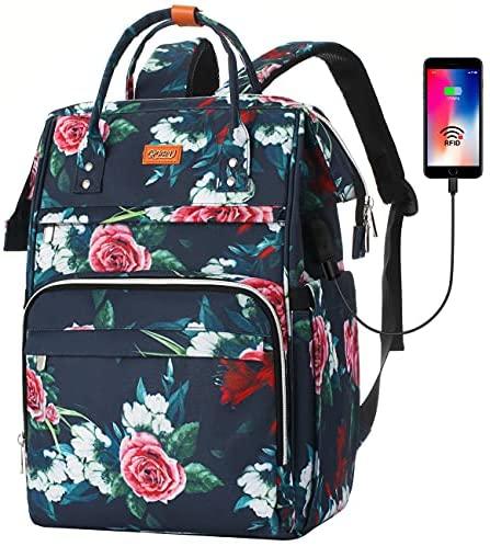 RJEU Mochila Mujer con Bolsillo RFID,Mochila Ligera Portatil 15,6 Pulgadas con Puerto de Carga USB para la Universidad/Escola/Negocios/Viajes(Flor)