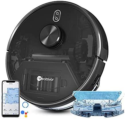 Robot Aspirador y Friegasuelos,Neatsvor X600 Aspiradora Robot Inalámbrica LDS con Escaneo Láser, 4000Pa Robot Aspirador. Aspirador Robot de Pelo de Animal ,App, Alexa y Google Home