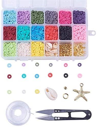 SHEGRACE Kits De Cuentas De Bricolaje 15 Colores Espaciadores De Arcilla PoliméRica Hechos A Mano Del Medio Ambiente Cuentas De Conchas