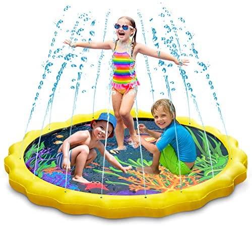 """Splash Pad, Keten Tapete de Aprendizaje para Salpicar con Rociadores para Actividades al Aire Libre, Juguetes Inflables de Agua para Bebés, Niños Pequeños y Niños (67"""" / 170 cm)"""
