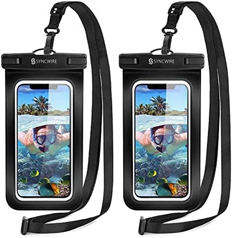 Syncwire Funda Impermeable Universal, 2 Unidades Bolsa para móvil estanca a Prueba de Agua IPX8 para iPhone 12 Pro Max/12/11/XS/MAX/XR/X 8 7, Xiaomi Redmi Note 9 8 7, Galaxy S21 S20, Huawei, Negro