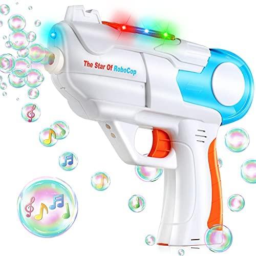 TangTag Máquina de Burbujas Niños,Pistola de Burbujas de Jabón con Luz y Música, Pistola de Pompas es Regalo de Deseos Niños, Apto para Todo Tipo Fiestas – Sin Incluir Líquido de Pompas Jabón y Pilas