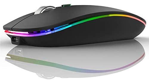 U12 Ratón Inalámbrico Recargable, Ultra Delgado Receptor Nano Wireless Mouse 1600 dpi Ajustables Silencioso Mini Mouse Multicolor LED para Computadora Portátil, PC, Portátil, Macbook (Negro Mate)