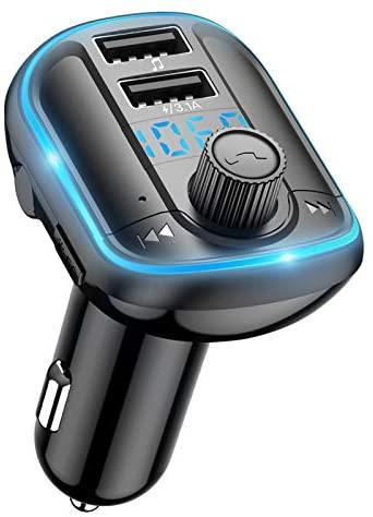 Wodgreat Transmisor FM Bluetooth 5.0 Transmisor de Radio Inalámbrico Manos Libres para Coche, Adaptador Bluetooth Coche Reproductor MP3 con Luz de Anillo Azul, Dual USB, Soporte Tarjetas SD/U Disk