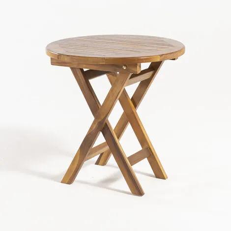 Mesa de jardín auxiliar de madera teca, Redonda