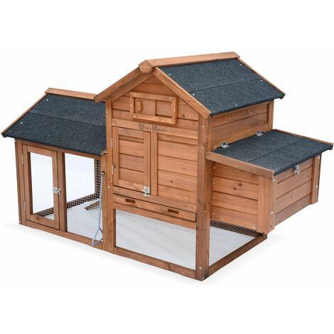 Gallinero de madera, 3 gallinas, jaula de gallina con cerramientos