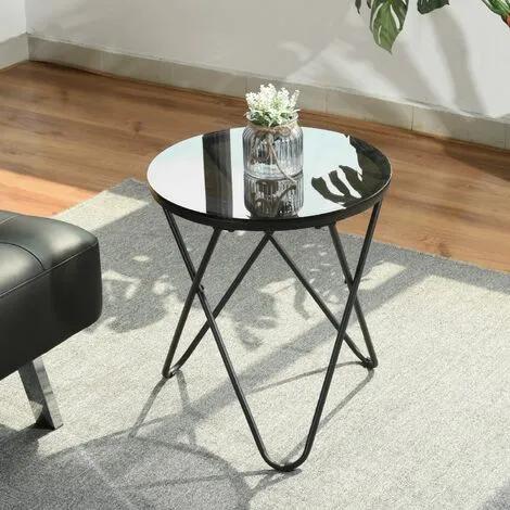 Mesa de centro redonda 45 cm Vidrio negro