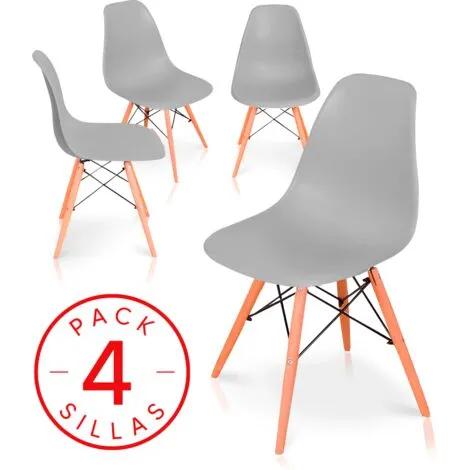 Pack 4 sillas Comedor salón Modelo NÓRDICA, con Pata de Madera respaldo ergonómico