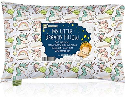 Almohada para niños con funda – Almohada para bebés de algodón orgánico suave 13×18 para dormir – Lavable e Respirable – Niños, bebés y recién nacidos – Perfecto para viajar (Unicorn Dreams)