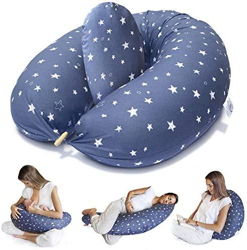 Bamibi® Almohada Embarazada y Cojín Interno Multifuncional, Cojín Lactancia Bebé. Fundas de Algodón, Relleno de Poliéster. Protector Cuna, Lavable (Estrellas)