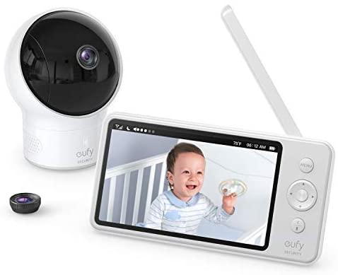 eufy Security SpaceView Monitor de bebé, babyphone con imagen de 720 HD, rango de 140 metros, lente gran angular, visión nocturna precisa, función automática, batería de 2900mAh, sensor de temperatura