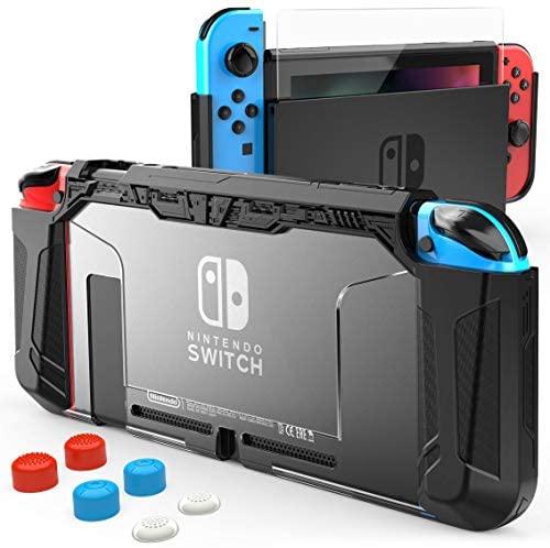HEYSTOP Carcasa Compatible con Nintendo Switch, Funda Nintendo Switch con Protector de Pantalla para Nintendo Switch Console y con 6 Agarres para el Pulgar