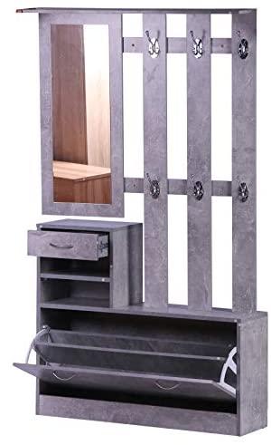 HOMCOM Conjunto de Muebles de Entrada Recibidor Pasillo Set de 3 Piezas Perchero Espejo Zapatero con Cajón 90x22x116cm Madera Gris