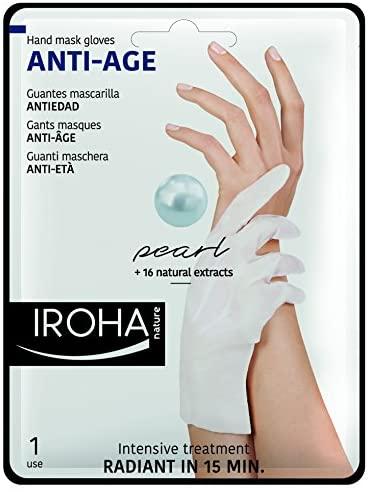 Iroha Nature – Guantes Antiedad para Manos con Perla y Vitamina E, 2 Guantes, 1 uso  Mascarilla Manos Antiedad Perla y Vitamina E