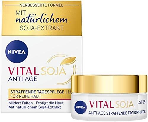 NIVEA Vital Soja – Crema reafirmante de día FPS 15 (50 ml), fórmula reafirmante con extracto de soja natural, cuidado hidratante para arrugas