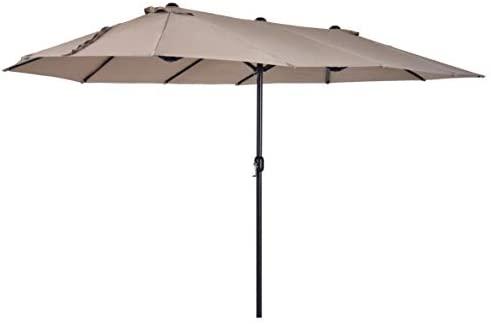 Outsunny Sombrilla Doble Parasol Grande 4.6×2.7m Sombrilla Jardín Patio con Manivela Manual Resistente al Agua y Protección Solar UV para Terraza Playa Piscina Café