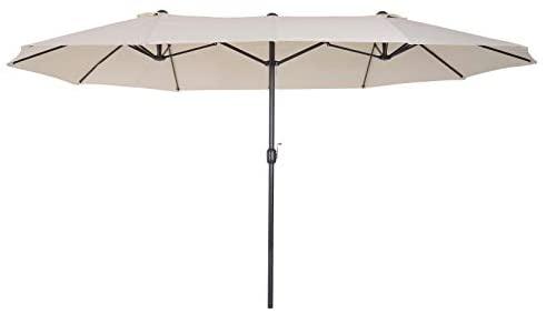 Outsunny Sombrilla Parasol Doble para Jardín Carpas Toldos de Terraza Tela de Poliéster Sombrilla Gigantede para Playa Protección Solar UV 4.6×2.7×2.4m Beige