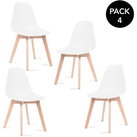 Sillas de comedor blancas,  pack de 4 sillas