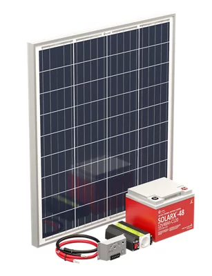 Kit Solar 1 panel 80W, batería 560Wh, inversor 300W