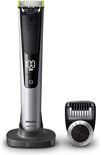 Philips OneBlade Pro QP6520/30 – Recortador de Barba con Peine de Precisión de 14 Longitudes y Base de Carga, Recorta, Perfila y Afeita, Recargable