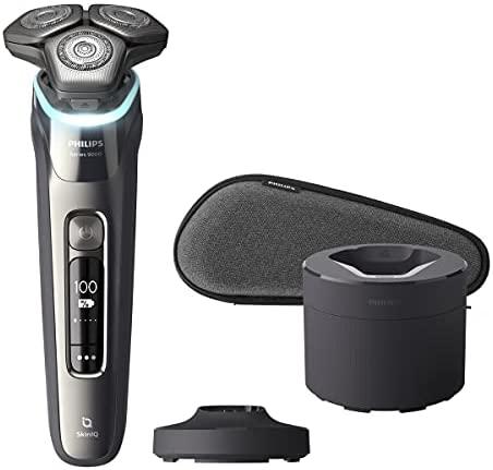 Philips S9987/55 Shaver Series 9000 – Afeitadora eléctrica en seco y húmedo (cuchillas SteelPrecision dobles, sensor protector de presión, cabezales flexibles de 360 grados)
