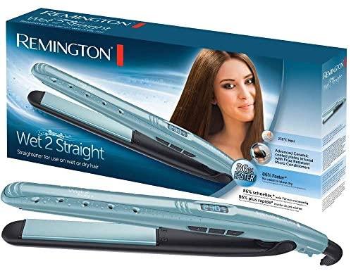 Remington Wet 2 Straight Plancha de Pelo – Cerámica Avanzada, Cabello Seco y Húmedo, Digital, 10 Ajustes Temperatura, Azul – S7300