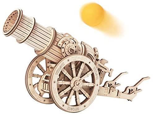 ROKR Rompecabezas Puzzles 3D para Adultos Niños Mayores de 14 Años Maquetas de Madera para Construir Regalos de Decoración Retro 142 Piezas Cañón medieval, Medieval Cannon