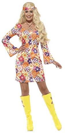 Smiffys-45520L Disfraz Floral de Hippy, con Vestido, pañuelo para el Cuello y Medal, Multicolor, L-EU Tamaño 44-46 (Smiffy´S 45520L)