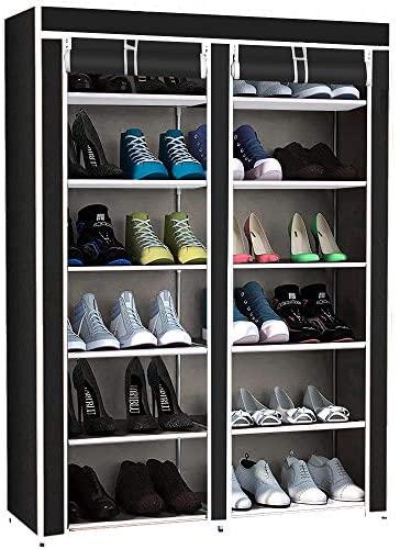 TLV AM-SRD55 Zapatero Doble con Cubierta de Tela 6 Alturas Estantes Organizador Zapatos