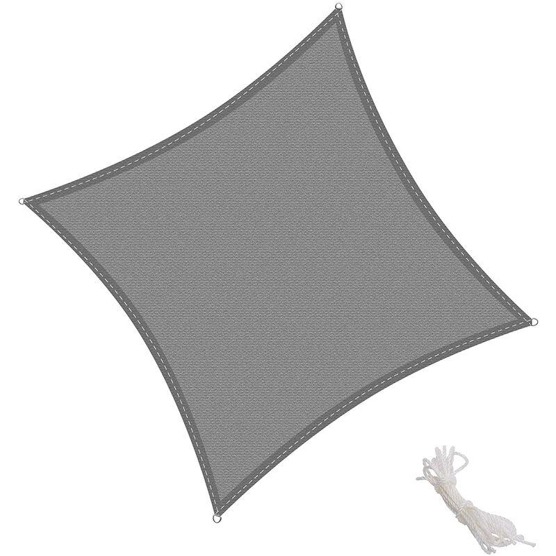 Toldo Vela Cuadrado 2x2m Vela de Sombra para Exteriores Patio Jardín Protección UV Polietileno de Gran Densidad Transpirable, Color Grafito