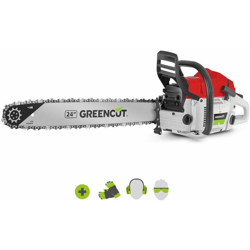 Motosierra de gasolina GS750X, con motor térmico 2 tiempos 75cc 4.8cv, espada 24,longitud corte 61cm, ideal para tala y poda, peso 8,75kg – Greencut