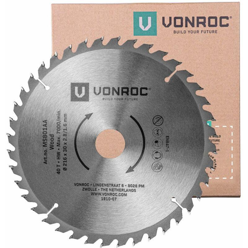 Hoja de sierra universal 216mm – 40 dientes – para madera – adecuada para ingletadoras y sierras de mesa.