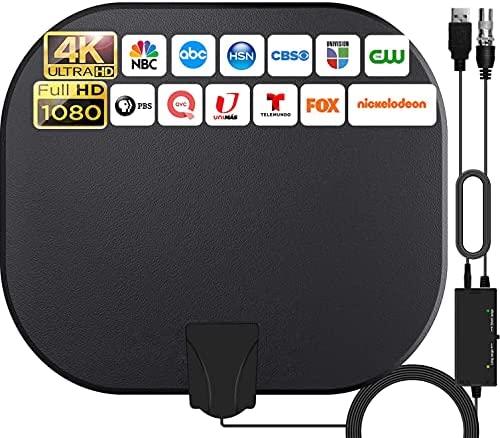 2021 Más Nuevo Antena de TV Interior,380KM Rango Amplificador de Señal Inteligente Antena de TV Digital para Interiores Canales de TV 1080P 4K Gratuitos,para Todos los Televisores Cable Coaxial de 5M