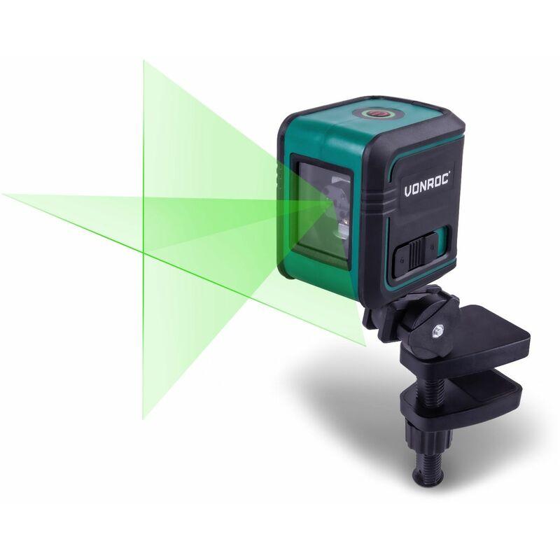 Láser de línea cruzada – Verde – Autonivelante – Alcance de 18 metros – Incl.barra de sujeción, bolsa de herramientas y baterías