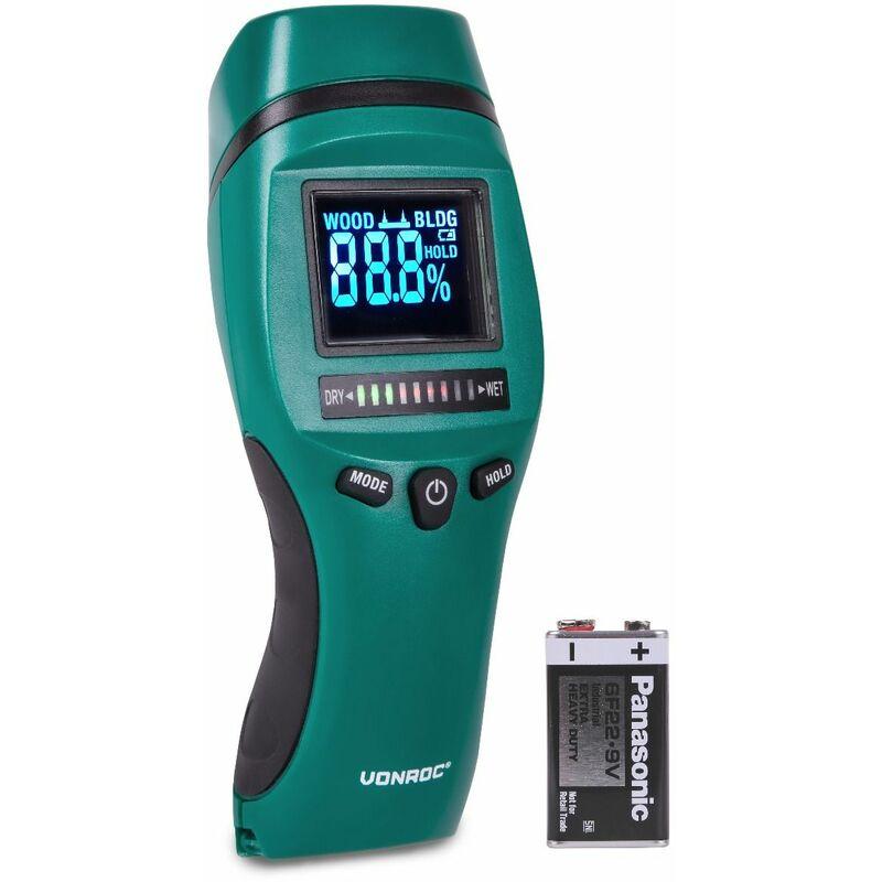Medidor de humedad – Pantalla LCD con retroiluminación – Uso profesional y preciso – Medición de humedad y moho