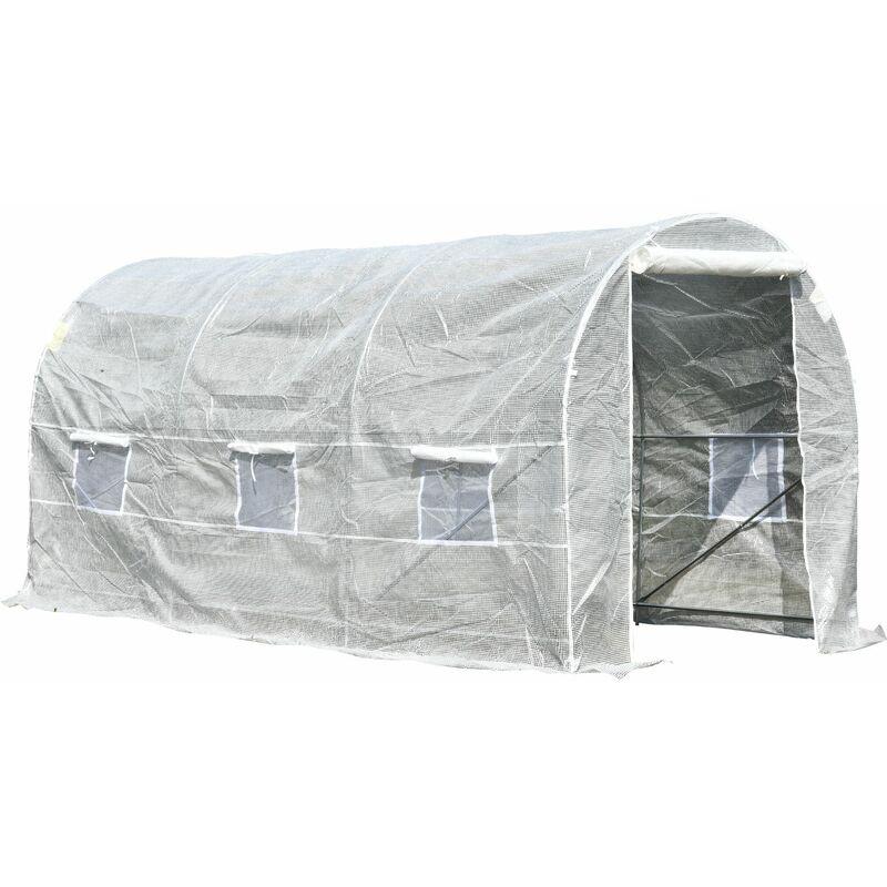 Invernadero de Jardín 4x2x2m Huerto Tipo Túnel 6 Ventanas Cultivos Plantas – Blanco