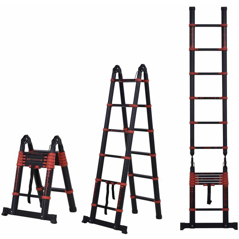 Escalera Aluminio Plegable Retráctil 2 Formas de Uso 12 Escalones Carga 150 kg – Negro