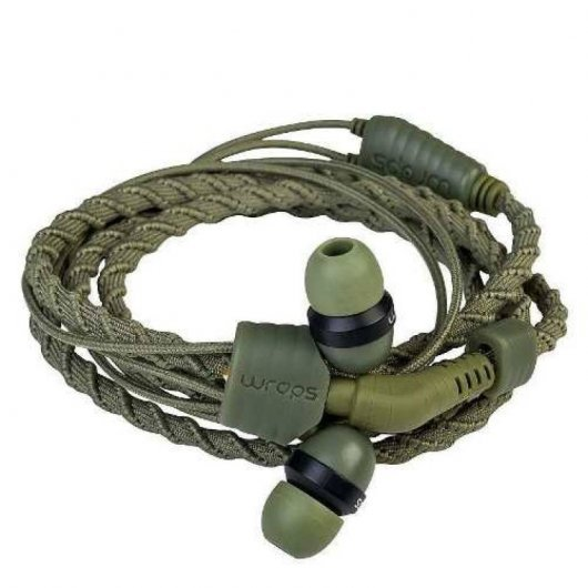 Auriculares Talk Camo Tela Trenzada Verde Militar