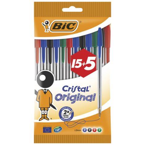 Blíster Bolígrafos Bic Cristal 15 + 5 gratis