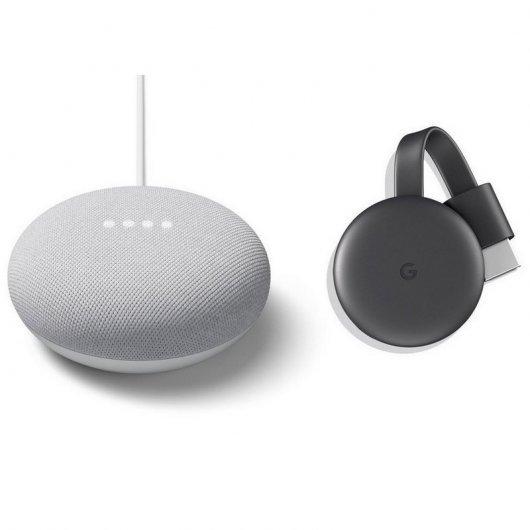 Google Pack Nest Mini Altavoz Inteligente y Asistente Tiza + Chromecast 3