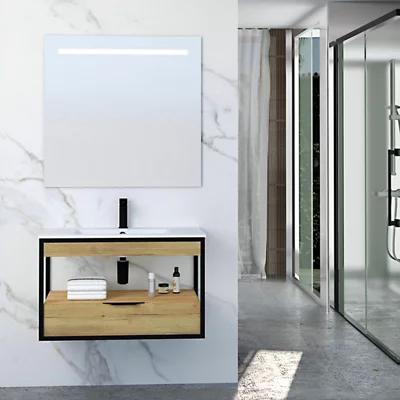 Mueble de baño con lavabo y espejo Barock natural 80×46 cm
