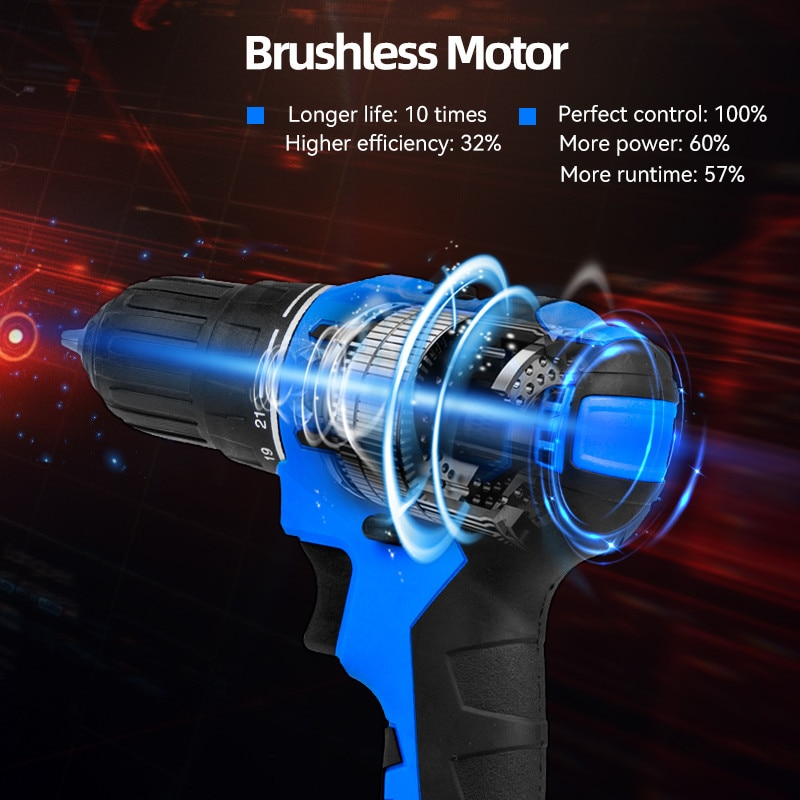 21V Brushless Electric Drill 40NM